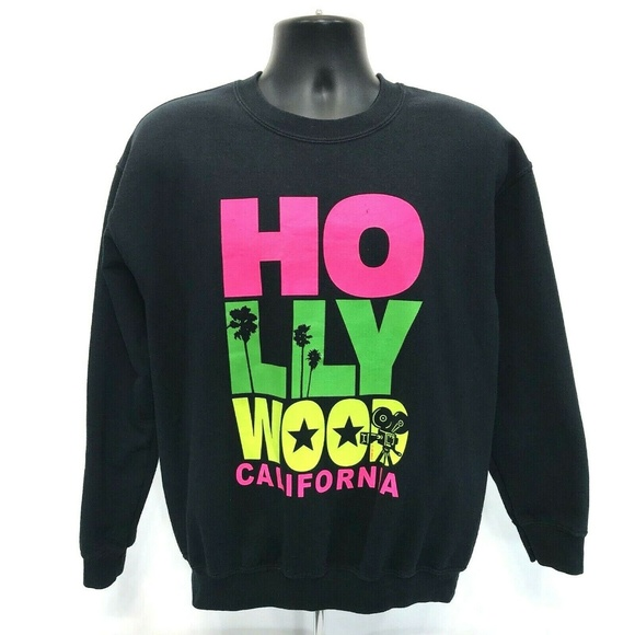 Gildan Other - HOLLYWOOD Neon VINTAGE 90's Sweatshirt Mens Size M